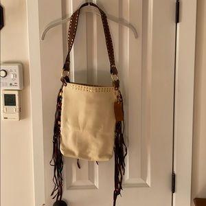 🆕 V 33 NYC Leather Handbag. Cream with Fringe.